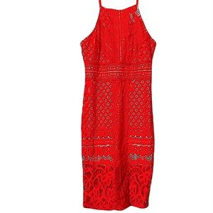 Missguided Red Lace Spagetti Strap Dress Size 12